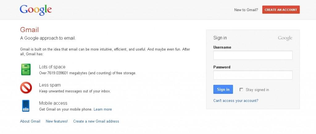 Gmail new login page