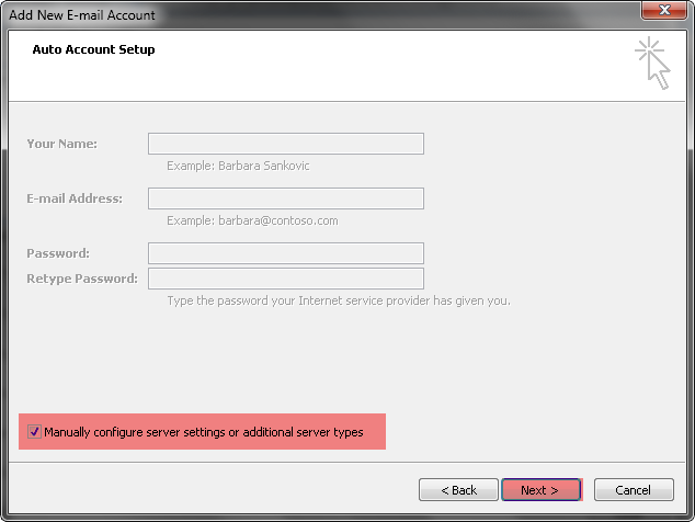how to configure gmail in outlook 2007 manually