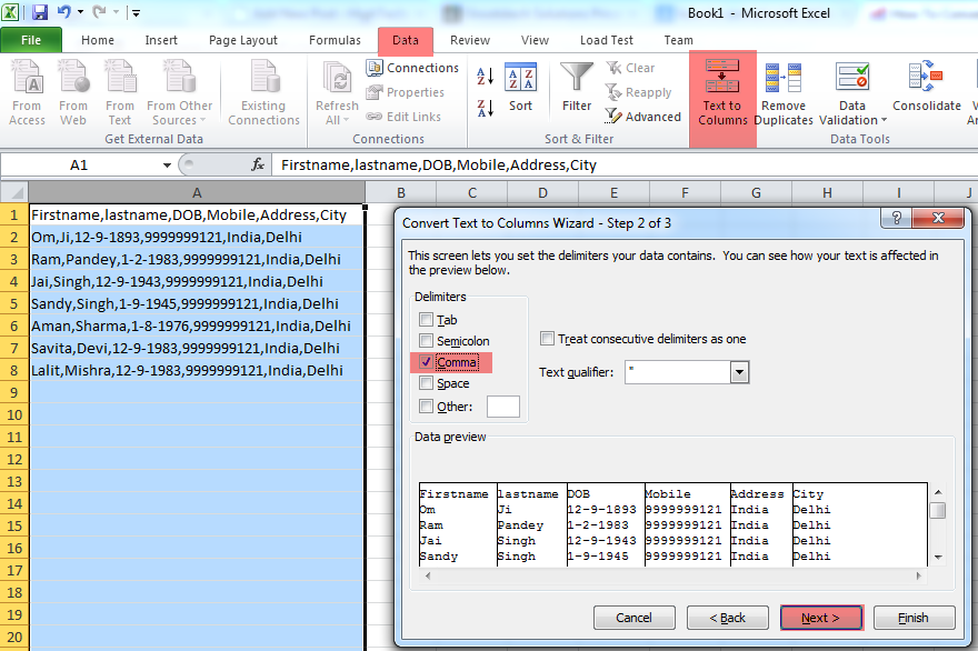 how to delimit data in excel