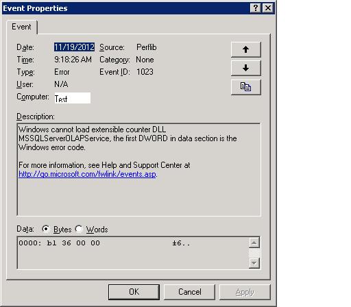 Perfblib Error in windows server