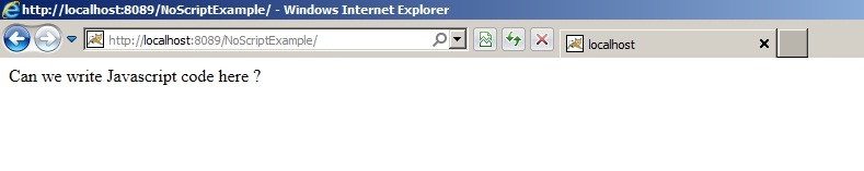Html noscript tag for Window onload not working in ie