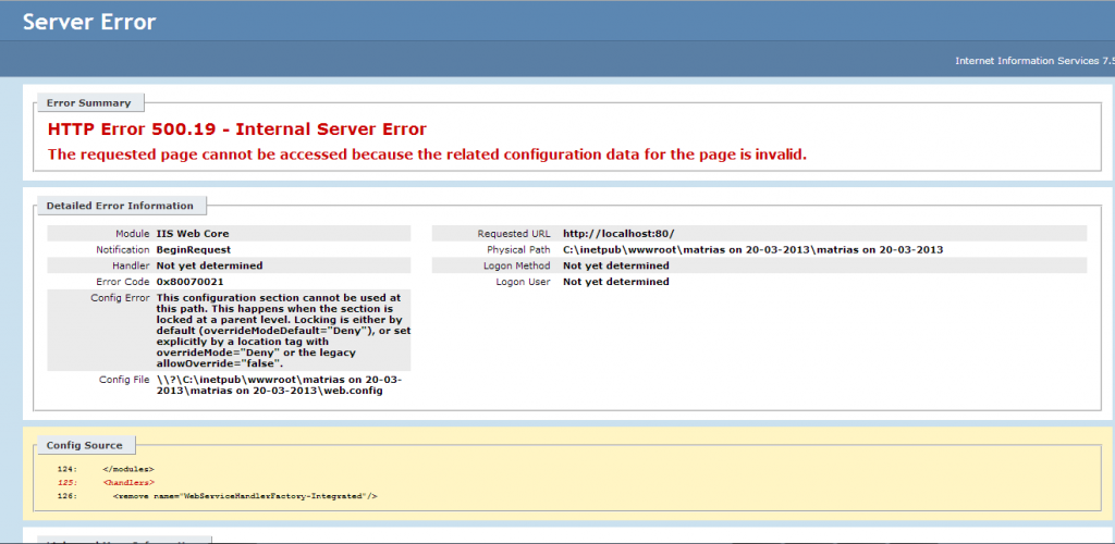 The requested page cannot be accessed because the related configuration data for the page is invalid problem in IIS
