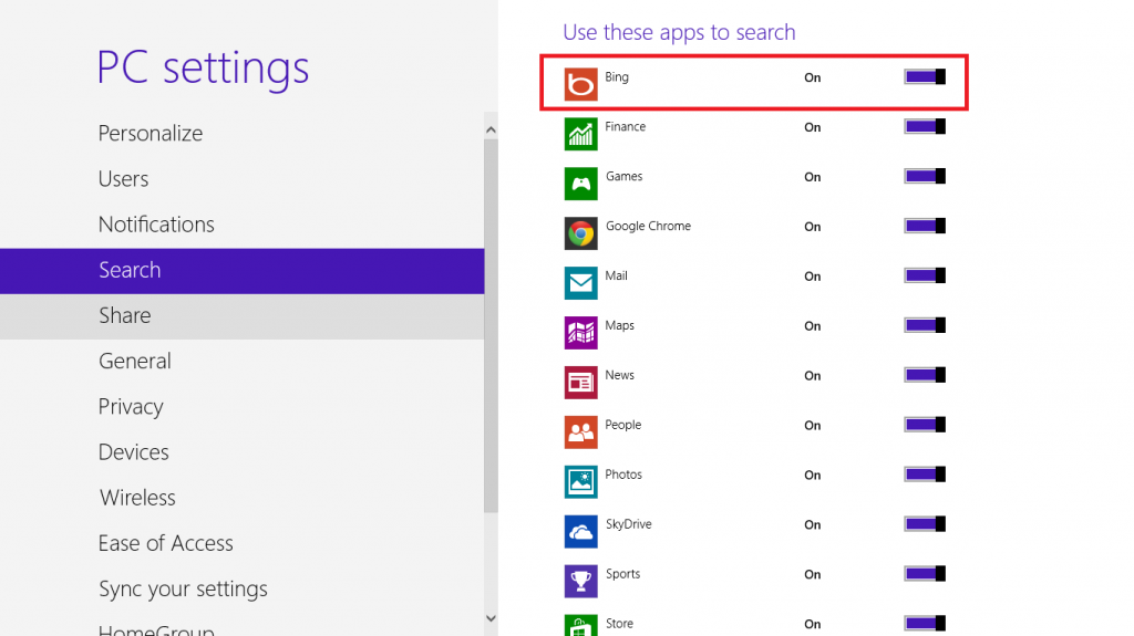 how to disable bing search