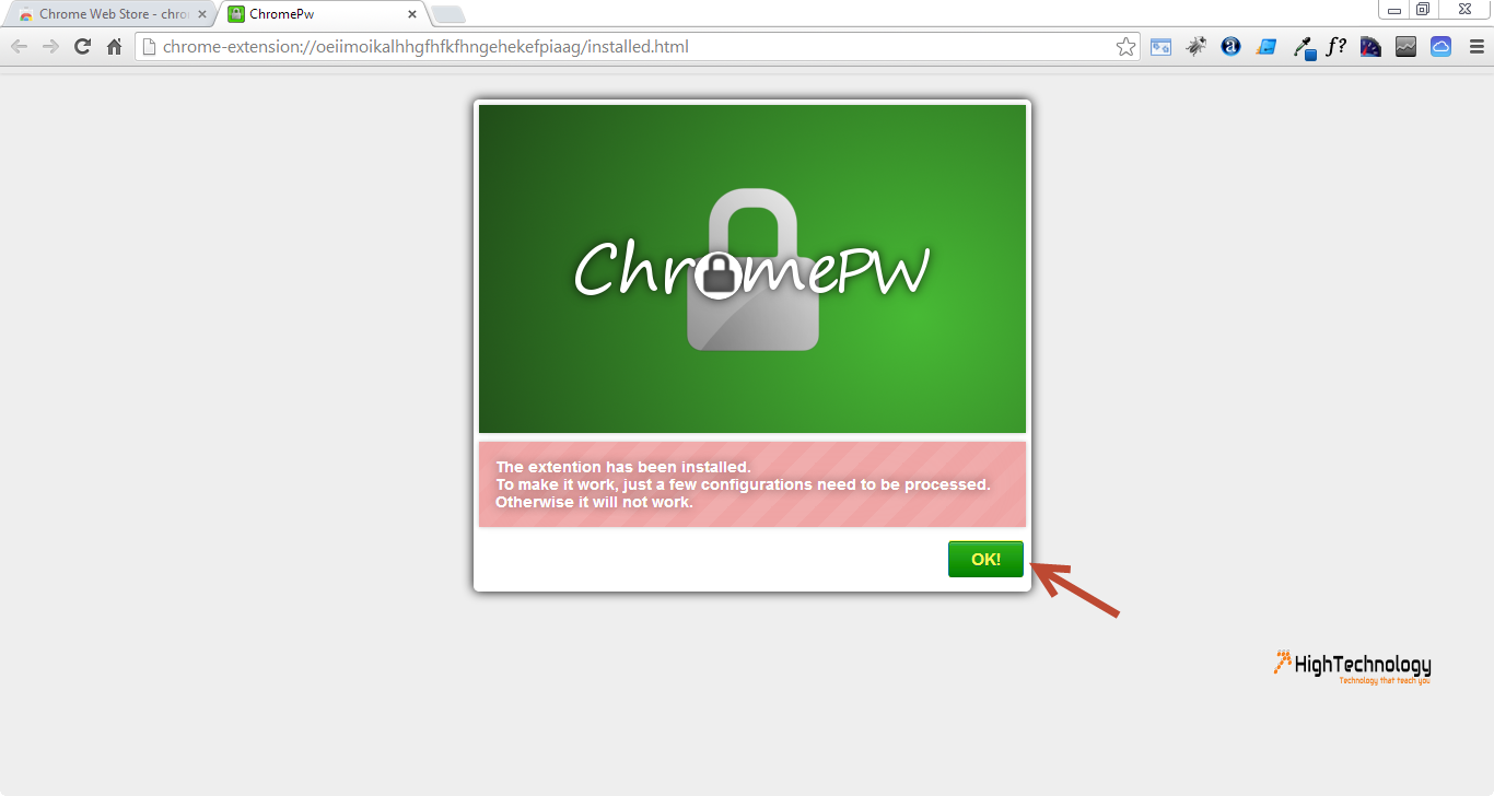 how to set a password on chrome