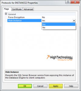 How To Hide An Instance Of SQL Server In 2008 R2