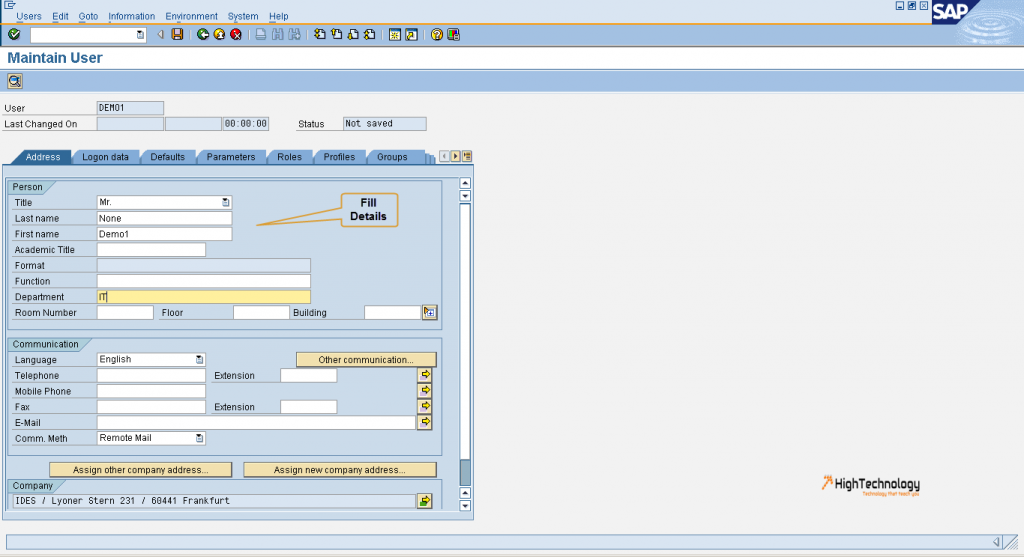 How to create user in SAP