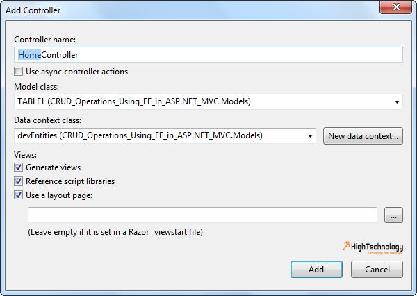 Add Controller in MVC