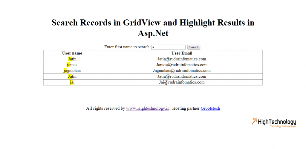 Search Records in GridView and Highlight Results in Asp.Net