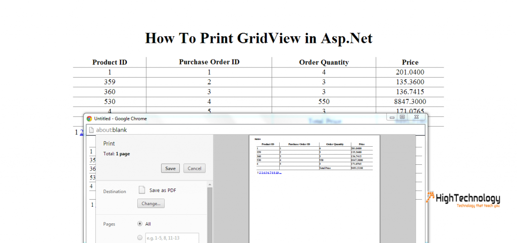 How To Print GridView in Asp.Net