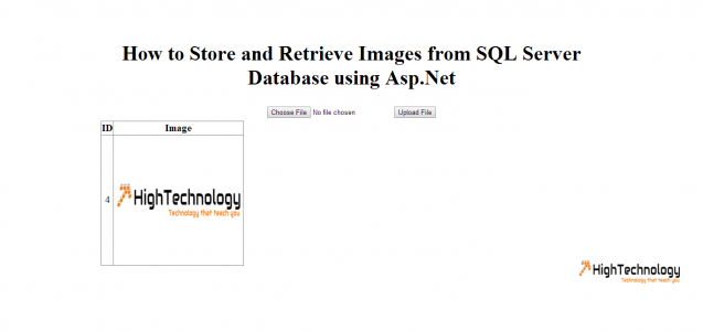 How to Store and Retrieve Images from SQL Server Database using Asp.Net
