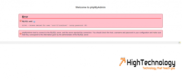 1045 - Access denied for user  root@localhost using password NO