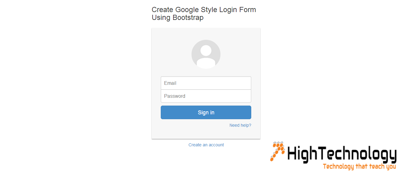 Create google style login form using bootstrapg falaconquin