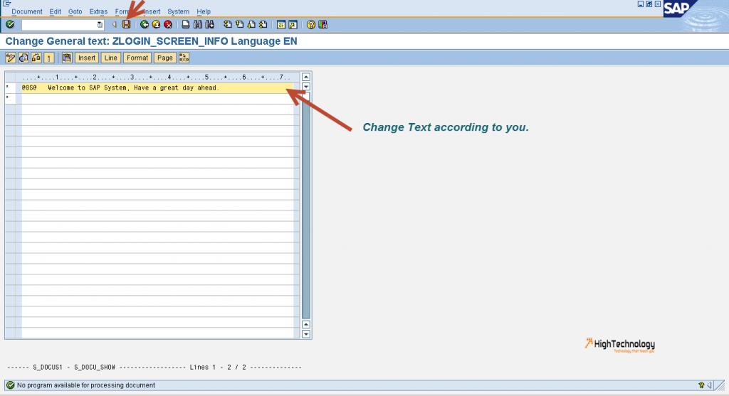 message on SAP login screen