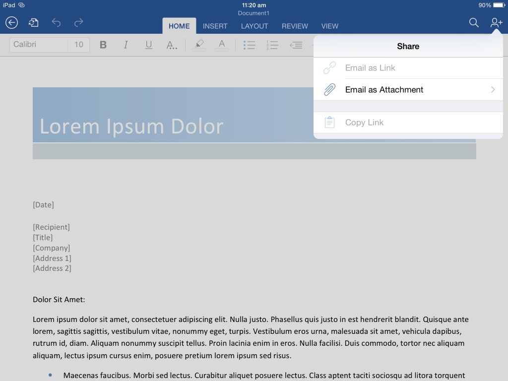 Export a PDF from word in iPad