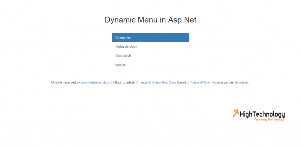 Dynamic Menu in Asp.Net