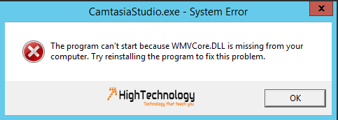 The program can't start because WMVCore.DLL is missing from your computer. Try reinstalling the program to fix this problem