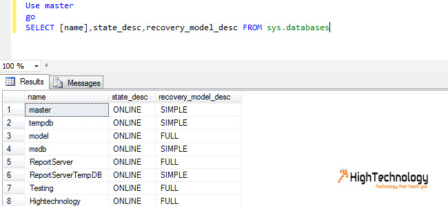 TSQL-Checking Database Recovery Model