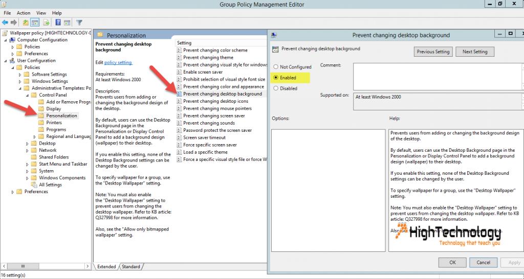 Prevent changing desktop background