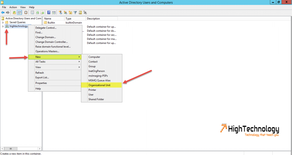 Create a New Organizational Unit in Active Directory
