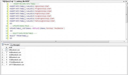 Change Domain Name in Email ID SQL SERVER