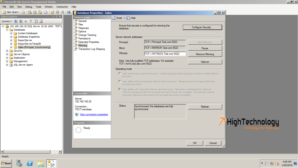 SQL Server Database Mirroring in Domain Environment