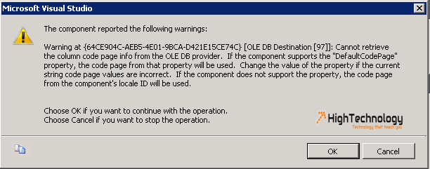 Cannot retrieve the column code page info from the OLEDB provider