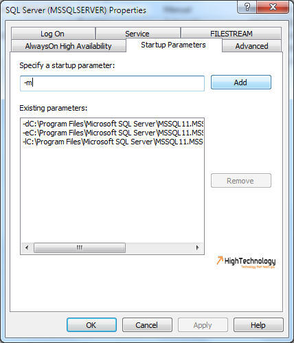 start sql server in single user mode