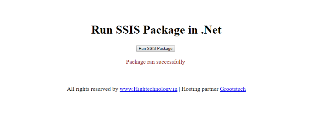 run ssis package from .net