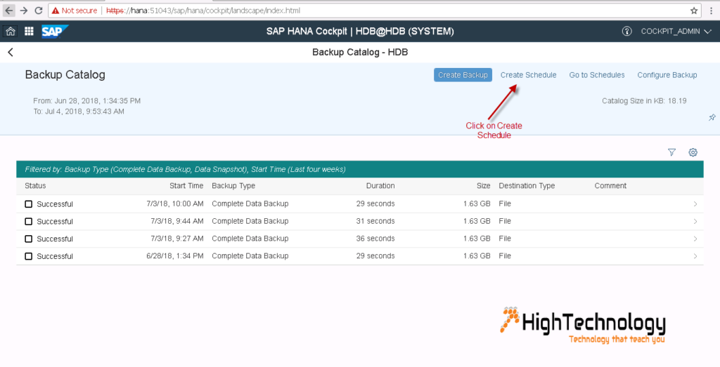 Schedule HANA database backup using SAP HANA Cockpit