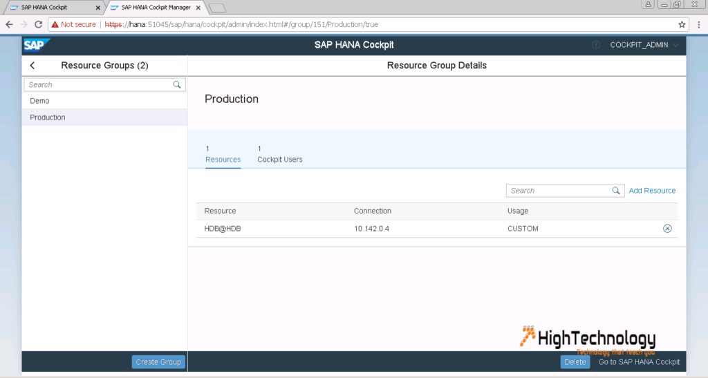 Create Resource Group sap hana