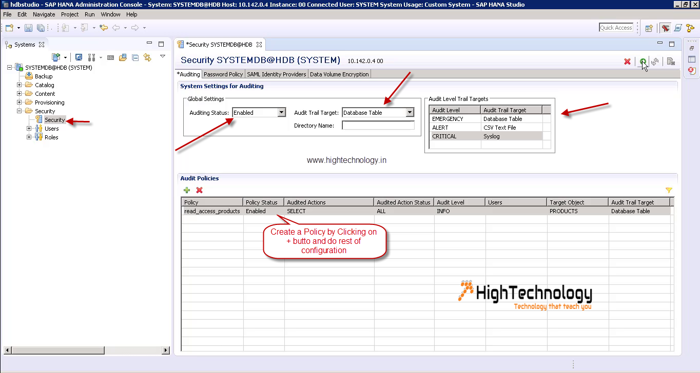 Enable Audit Policy in SAP Hana - HighTechnology
