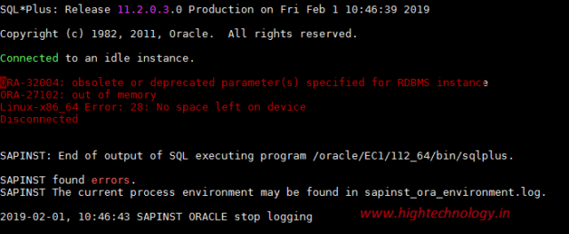 ORA-27102: out of memory Linux-x86_64 Error: 28: No space left on device